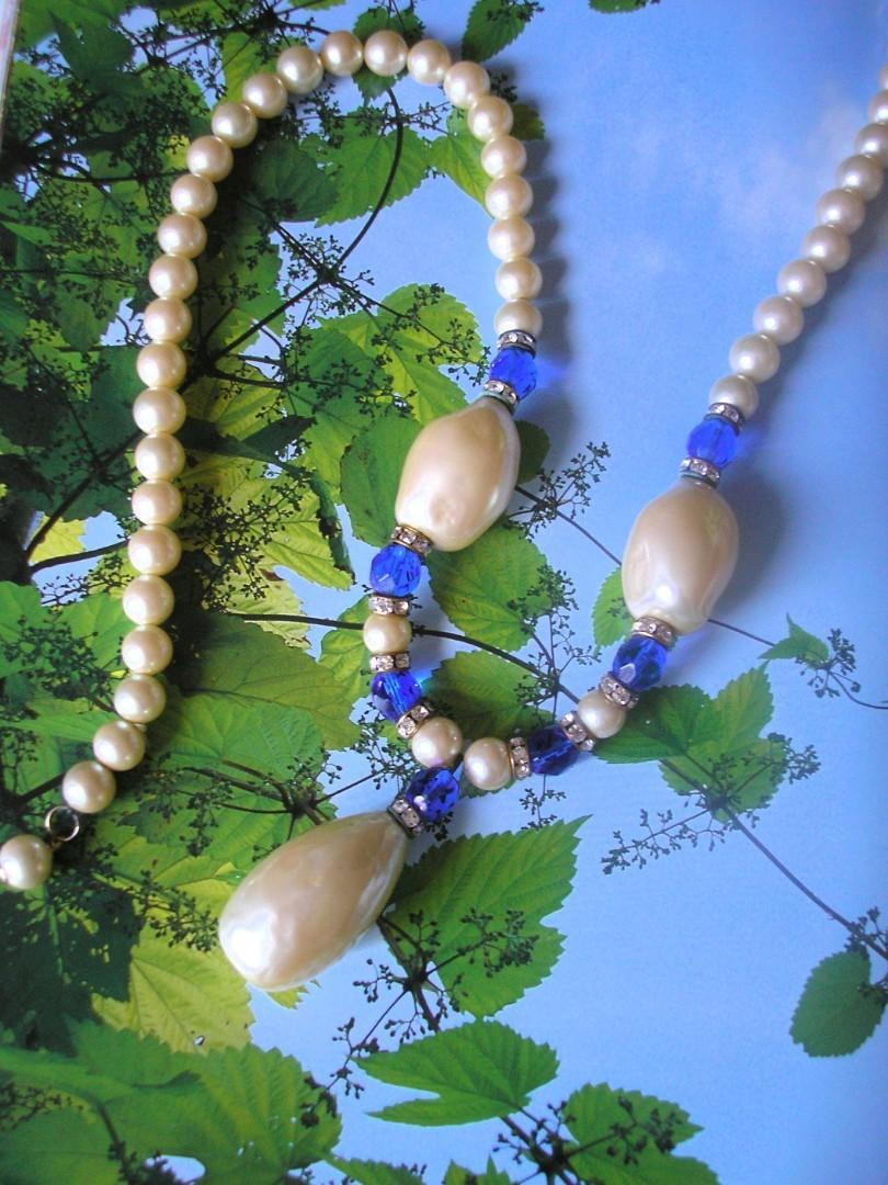 Wedding - Vintage Baroque Pearl And Bristol Blue Glass Necklace