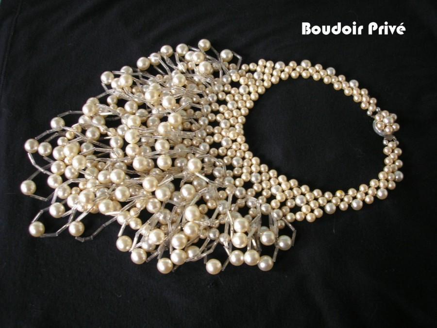 Wedding - Vintage Pearl Runway Necklace