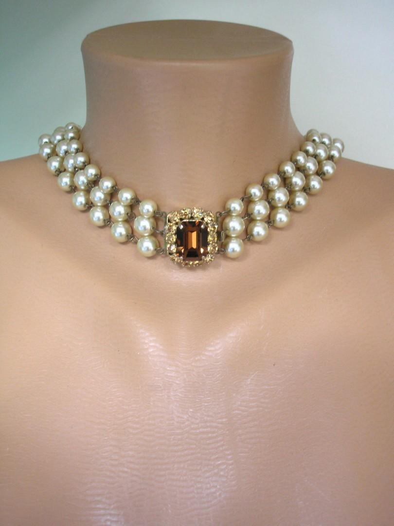 Wedding - Long Champagne Pearl Necklace With Topaz Rhinestone Clasp