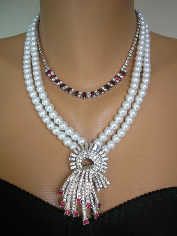 Hochzeit - Pearl And Ruby Necklace