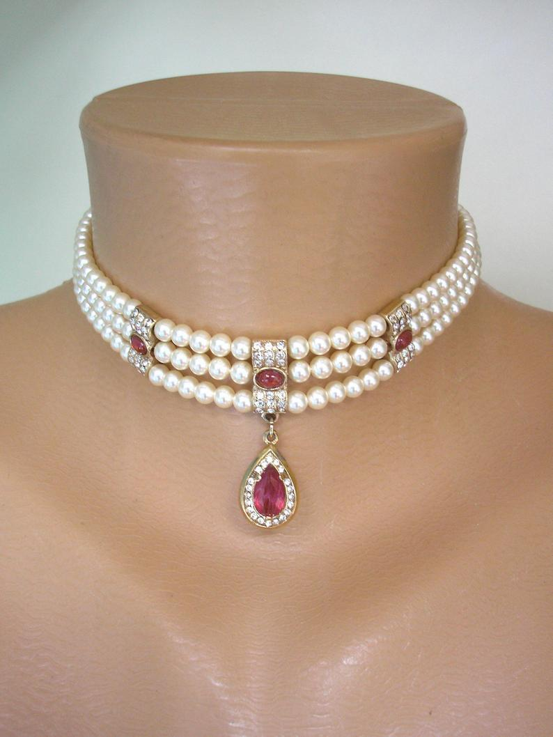 Wedding - Vintage Rosita Pearl Choker, Signed Rosita Pearls, Pearl And Ruby Choker, Indian Bridal Choker, Downton Abbey Jewellery, Red Moonstone, Deco