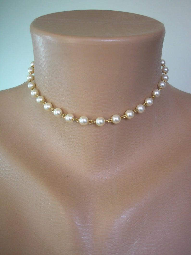 Wedding - Single Strand Pearl Choker, GOLD Links, Pearl Necklace, Cream Pearl Choker, Single Strand Choker, Bridal Jewelry, Wedding Necklet