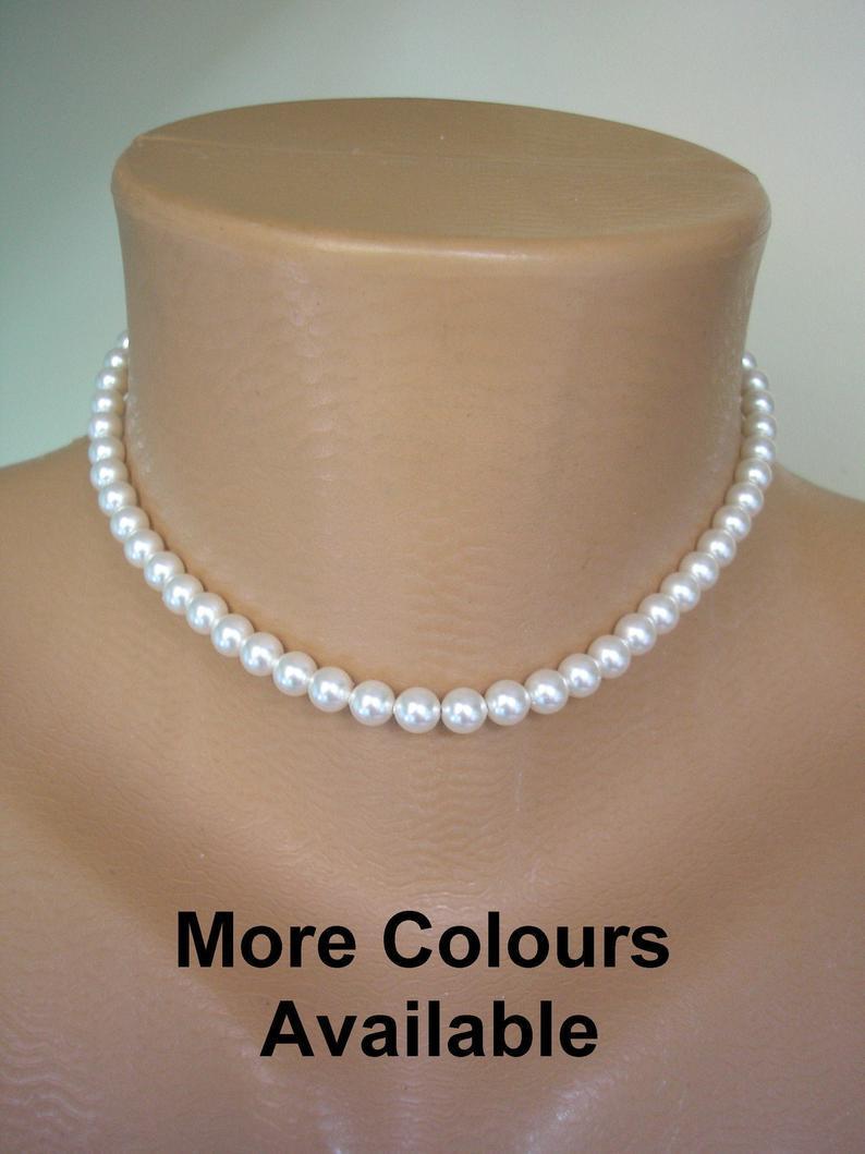 Свадьба - Single Strand SWAROVSKI Pearl Choker, Single Strand Pearls, Dainty Pearl Choker, Bridal Pearls, Bridesmaid Pearls, Weddings Pearls