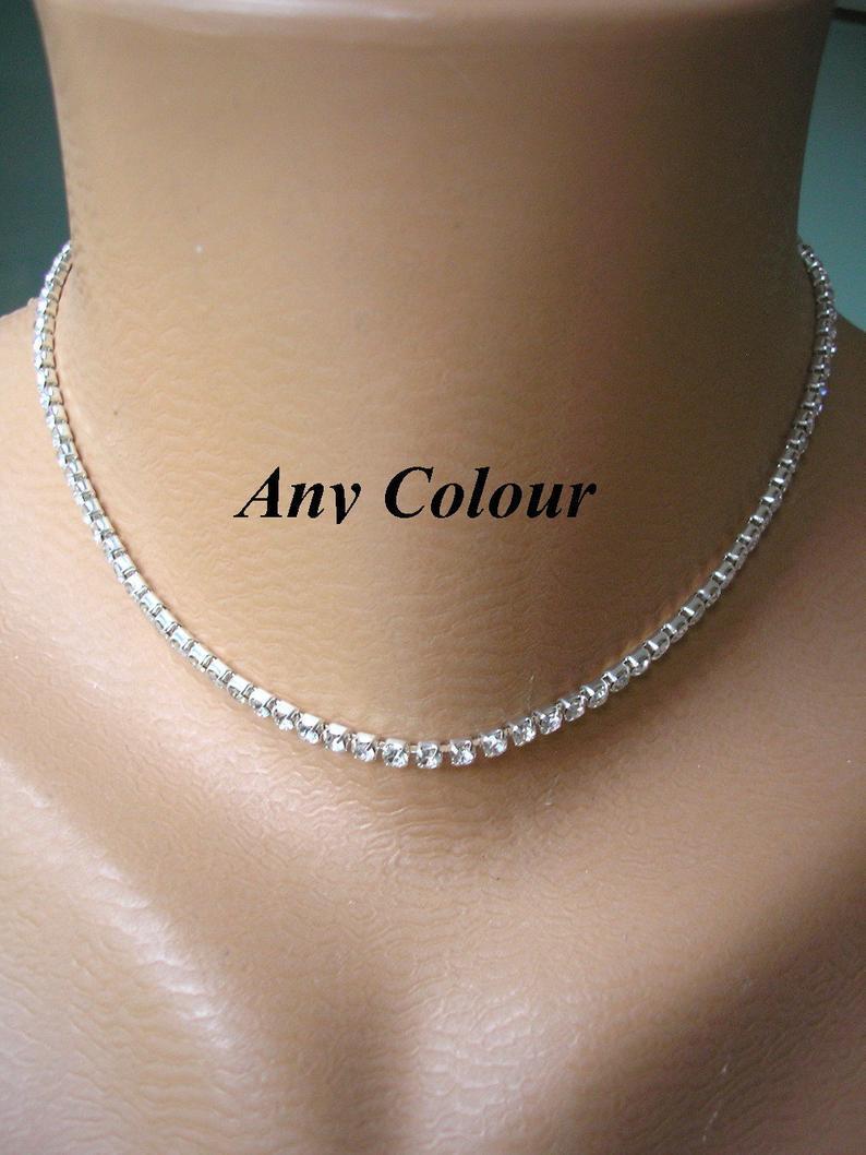 Wedding - Single Strand Rhinestone Choker, Bridesmaid Gift, Diamante, Sparkly Necklace, Minimalist Choker, Party, Prom, CHOICE OF COLORS & Sizes