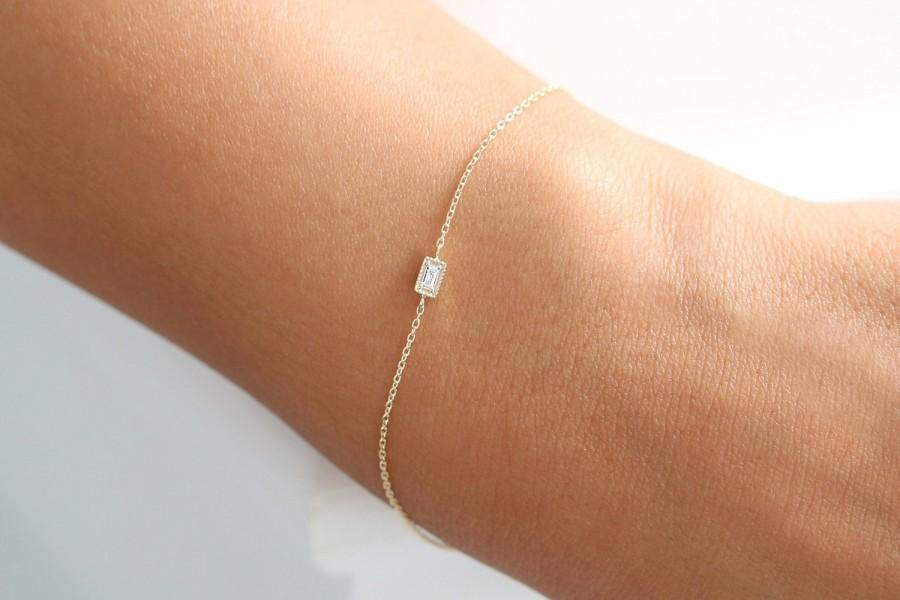 Wedding - Diamond Bracelet / Dainty Baguette Diamond Bracelet with Chain / 14k Dainty Gold Bracelet / Minimalist Bracelet / Rose Gold Bracelet