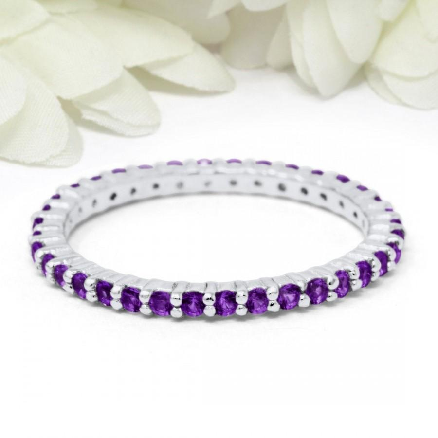 Wedding - 2mm Full Eternity Stackable Stacking Round Simulated Purple Amethyst Wedding Band Ring 925 Sterling Silver