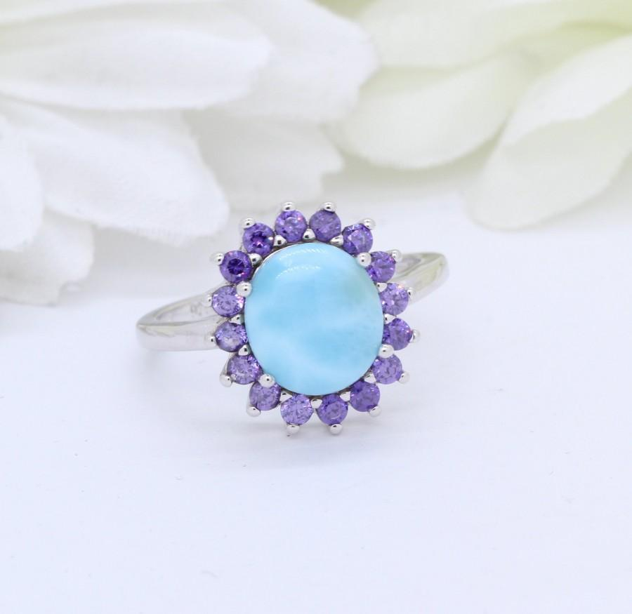 Wedding - Halo Oval Natural Dominican Larimar Wedding Engagement Ring Solid 925 Sterling Silver Larimar Ring Round Amethyst CZ Vintage Art Deco