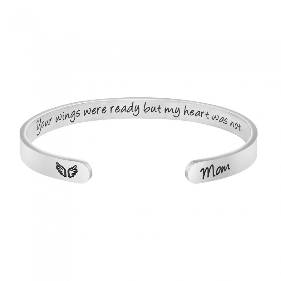 Wedding - Joycuff Your Wings Were Ready But My Heart Was Not Memorial Cuff Bracelet Bereavement Loss of Mom Dad Miscarriage Sympathy Remembrance Gifts