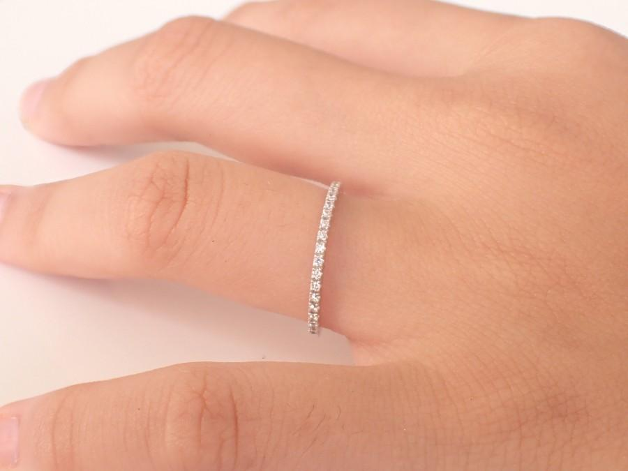 Wedding - Micro Pave Eternity, 10k Gold Eternity, Half Eternity Pave Diamond Band, Thin Dainty Stacking, Delicate Pave Ring