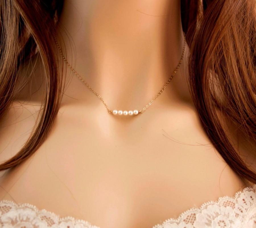 Wedding - Tiny Pearl Row Necklace, Minimal Pearl Necklace, Dainty Pearl Necklace, 14k Gold Fill Necklace, Bridal Necklace, Bridesmaids Necklace
