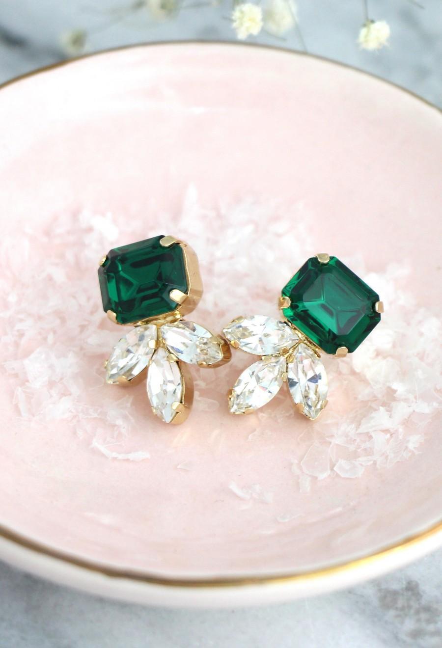 Hochzeit - Emerald Earrings, Bridal Emerald Earrings, Dark Green Bridal Stud Earrings, Bridesmaids Emerald Earrings, Green Bridal Swarovski Earrings
