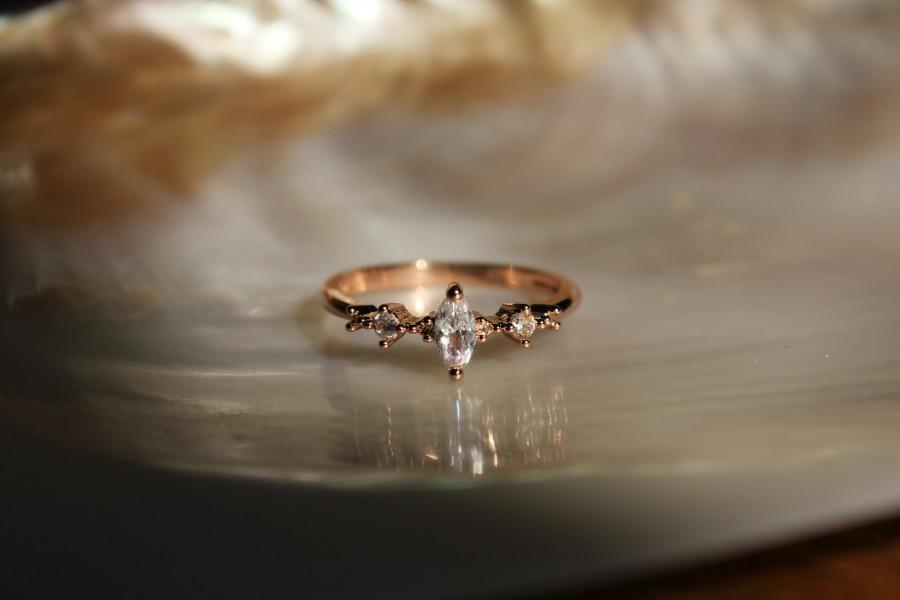 Wedding - Delicate Rose Gold Plated Dainty Stackable Ring with Marquise Crystal