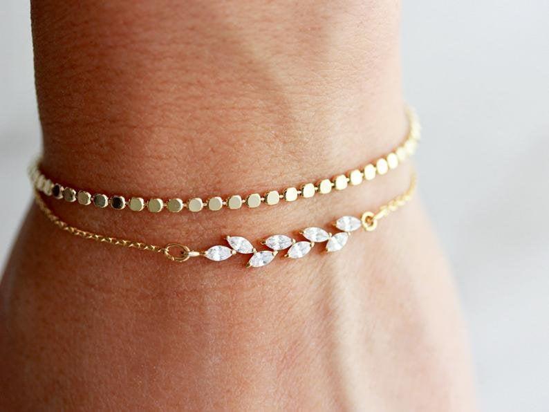 زفاف - Dainty Bracelets Gift Set / Dainty Bracelet / Crystal Bracelet  / Layering Bracelets / Delicate Bracelet / Layered Bridesmaid Bracelet BGS 1