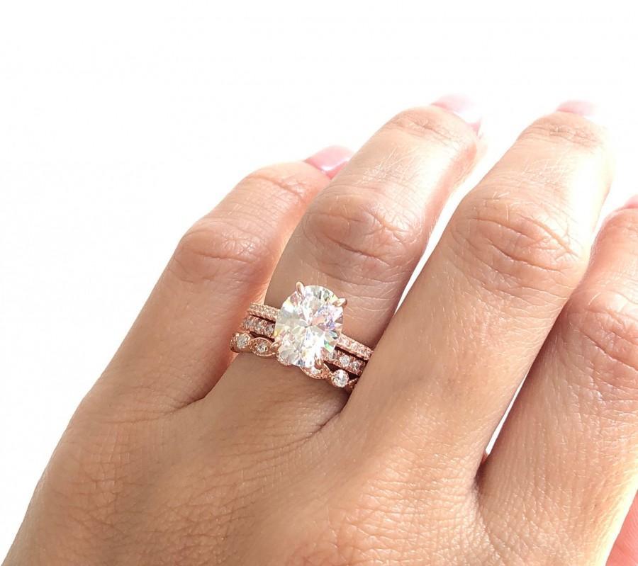 Wedding - Wedding Ring Set. Rose Gold Oval Engagement Ring Set. Stacking Rings. Rose Gold Wedding Rings. Anniversary Rings. Rose Gold Rings.