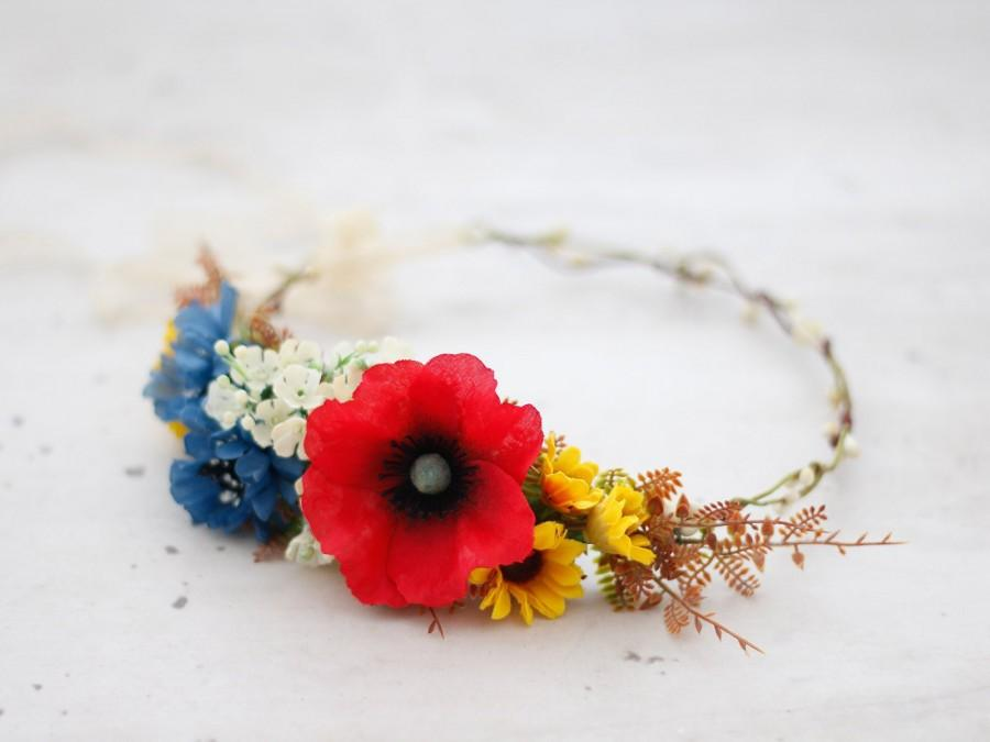 Wedding - Poppy Flower Crown, Cornflower Flower Crown, Wild Flower Crown