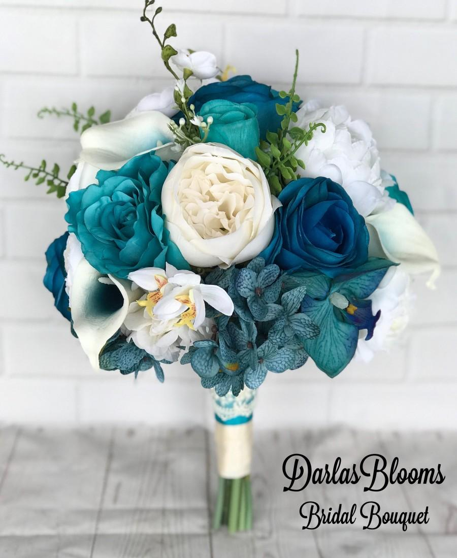 Mariage - Wedding bouquet, Bridal bouquet, Turquoise wedding flowers, Teal bouquet, Turquoise bouquet, Turquoise Teal silk flowers, Beach bouquet