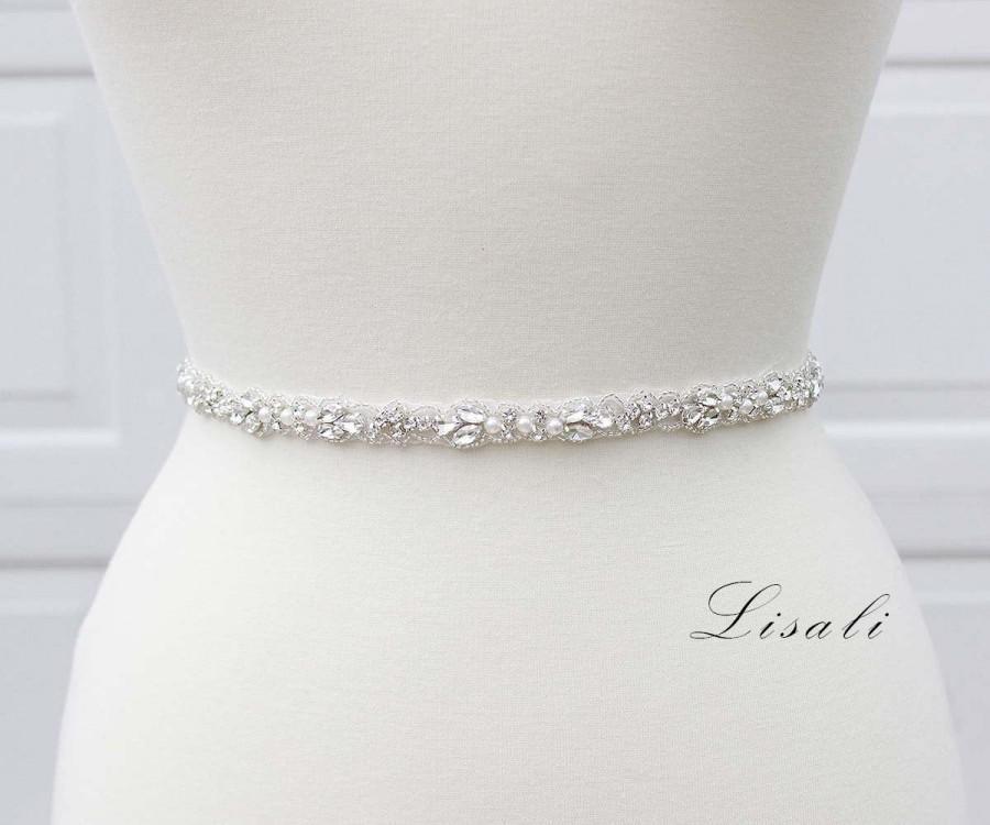 Wedding - LISALI Thin Wedding Belt, Pearl and Rhinestone Belt , Bridal Belt Sash ,  Crystal Belt, Bridesmaid Belt, Wedding Dress Belt