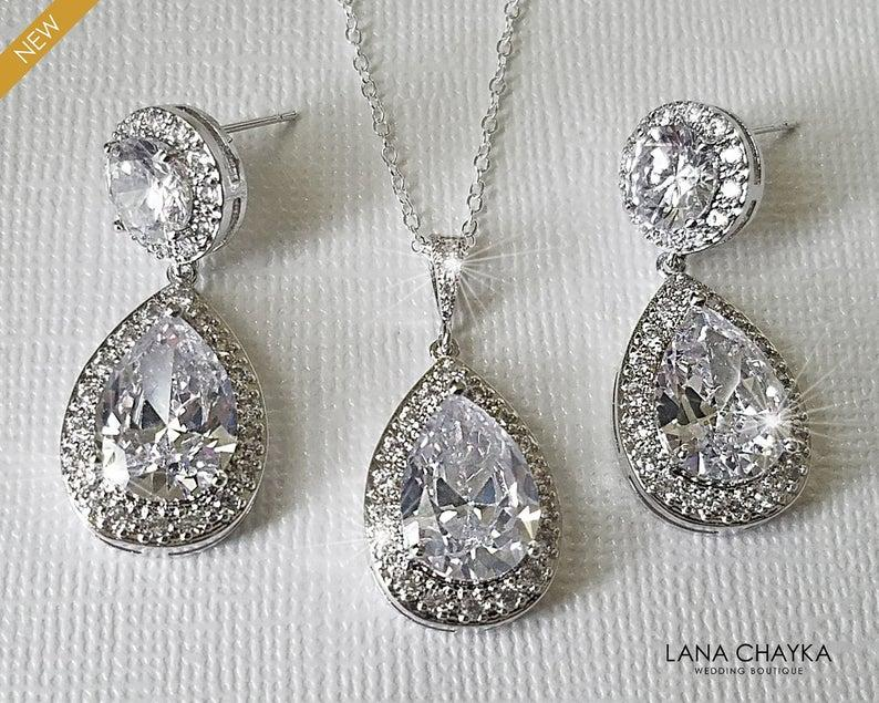 Wedding - Bridal Crystal Jewelry Set, Wedding Cubic Zirconia Halo Set, Teardrop Earrings&Necklace Set, Bridal CZ Jewelry, Wedding Sparkly Crystal Set