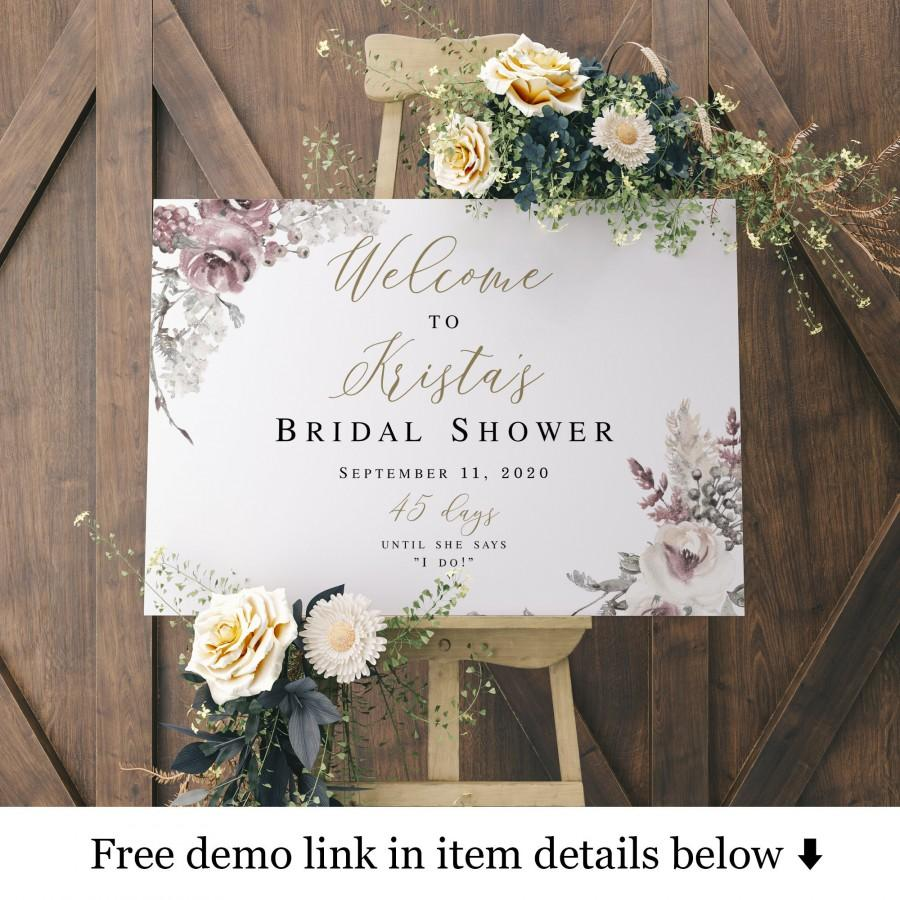 Wedding - Purple Gold Bridal Shower Welcome Sign Template, Brunch Party Decor, Wedding Countdown, Days Until She Says I Do, Reception Poster #vmt4210
