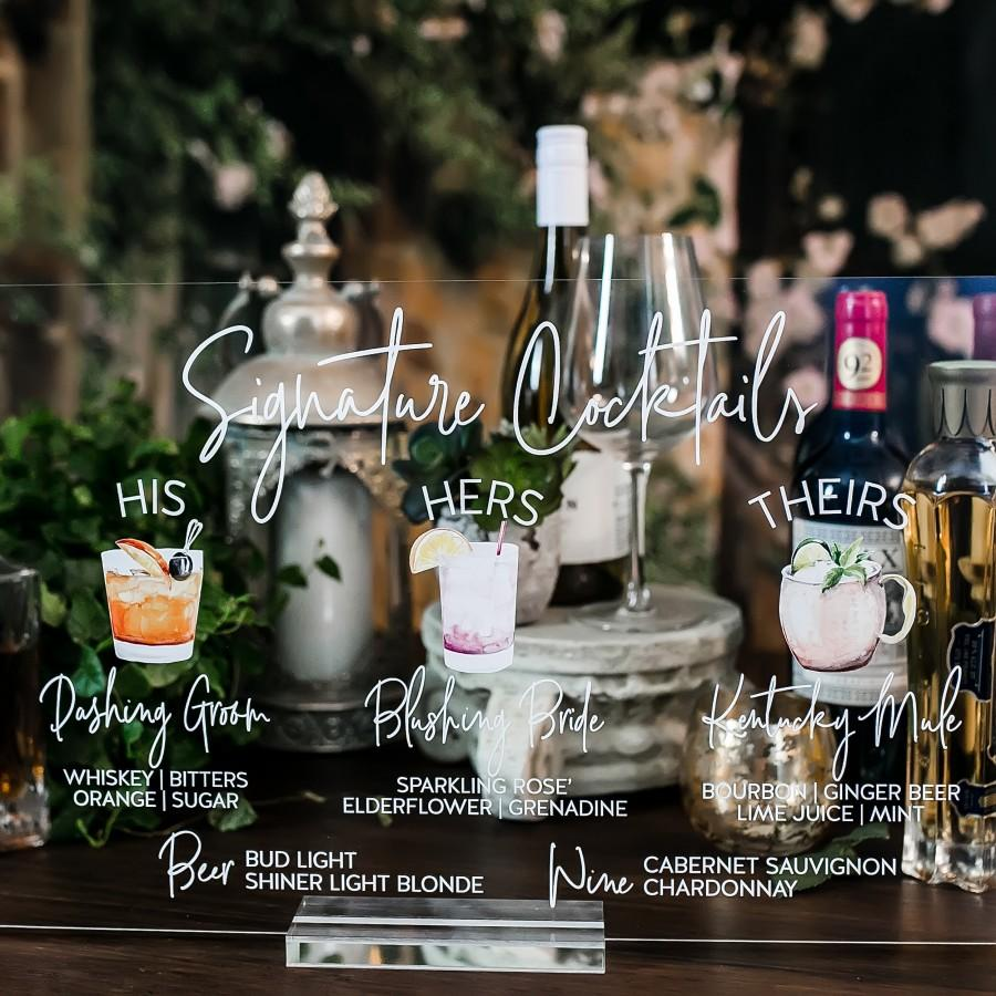 Wedding - Bar Menu Signature Cocktails Custom Clear Glass Look Acrylic Wedding Sign With Stand, His Her Drinks Lucite Perspex Bar Table Sign, SIG-SC1
