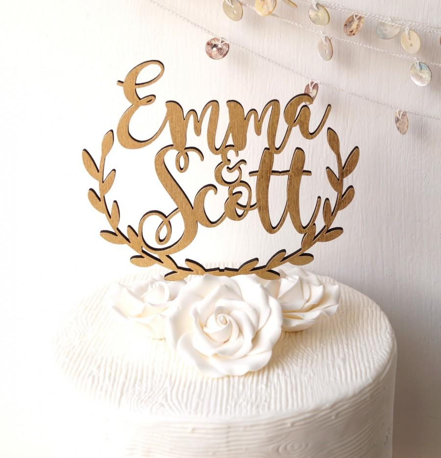 Wedding - Wedding cake topper, personalized cake topper, rustic wooden cake topper, names cake topper, leaf border topper, your choice of wood