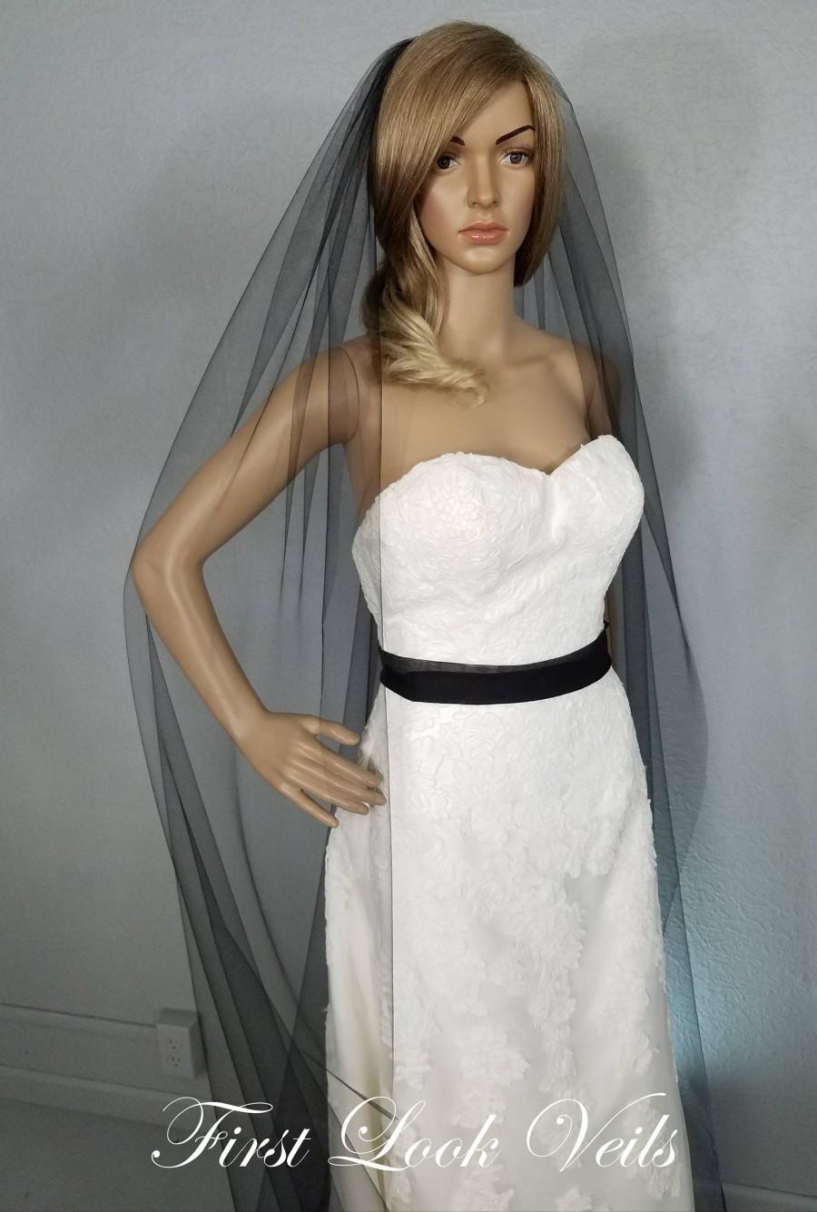 Wedding - Black Veil, Black Veil Brides, Cathedral Vail, Long Vale, Floor Length Veil, Simple Veil, Soft Veil, Tulle Veil, Chapel Veil, Elbow Veil