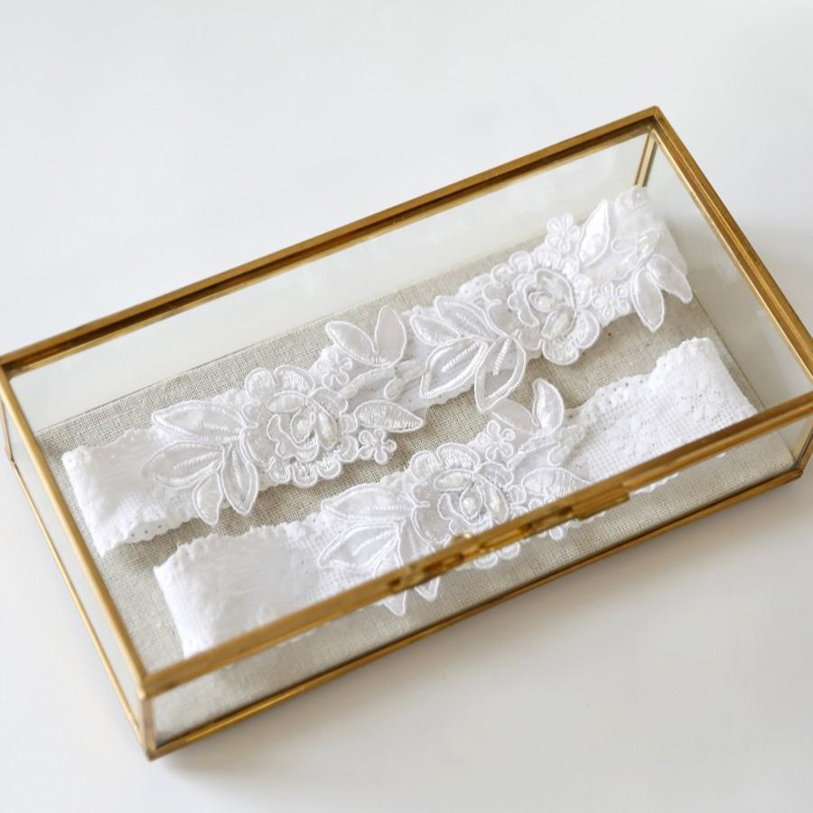 Wedding - White Wedding Garter Set, White Beaded Lace Wedding Garter Set, White Garter Set, White Lace Toss Garter ,White Garter Belt / GT-34