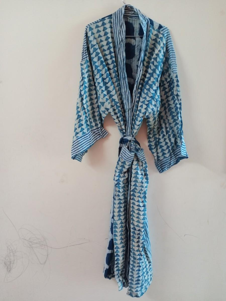Wedding - Women's BLUE Indigo Kimono, Patchwork Cotton Kimono, Bath Robe,Cover up ,Beach Wear Dress