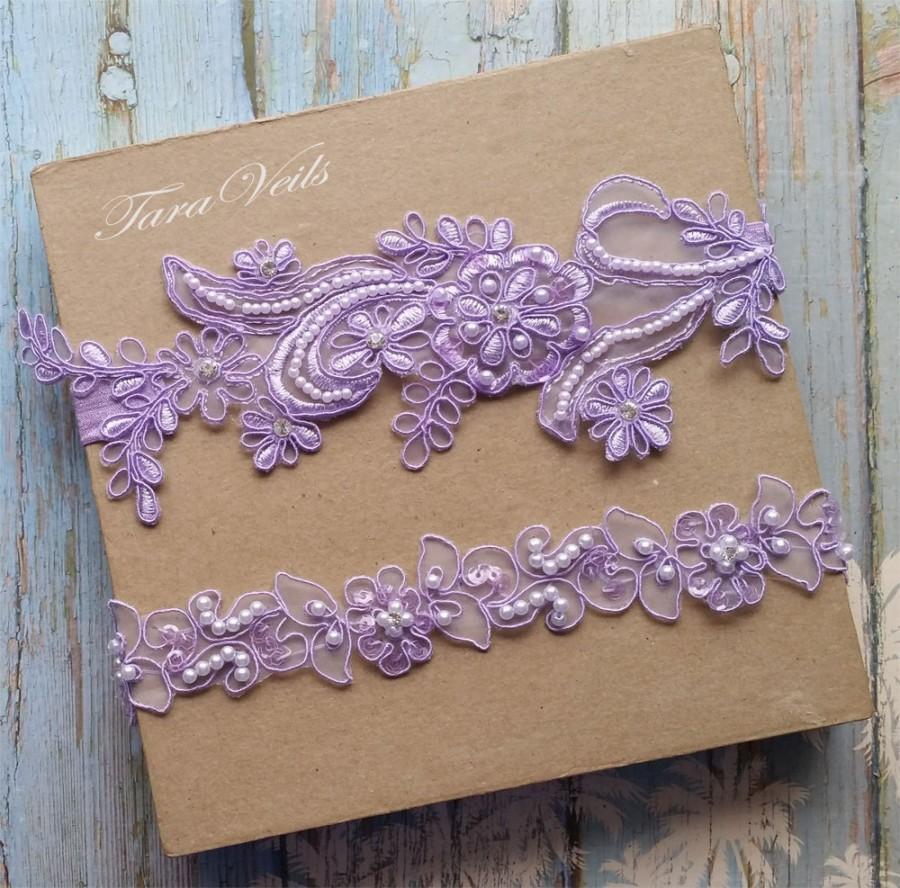 Wedding - Garter,Wedding garter set, Lavender Garter, Rhinestone Lavender Garter, Bridal garters lavender,bridal garter,Floral lace garter,Garter Set