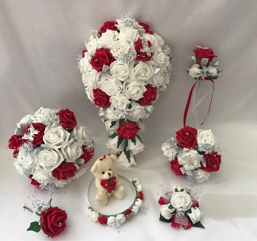 Mariage - Wedding Bouquets RED Butterfly flowers Bride Bridesmaid Flower Girl Wand