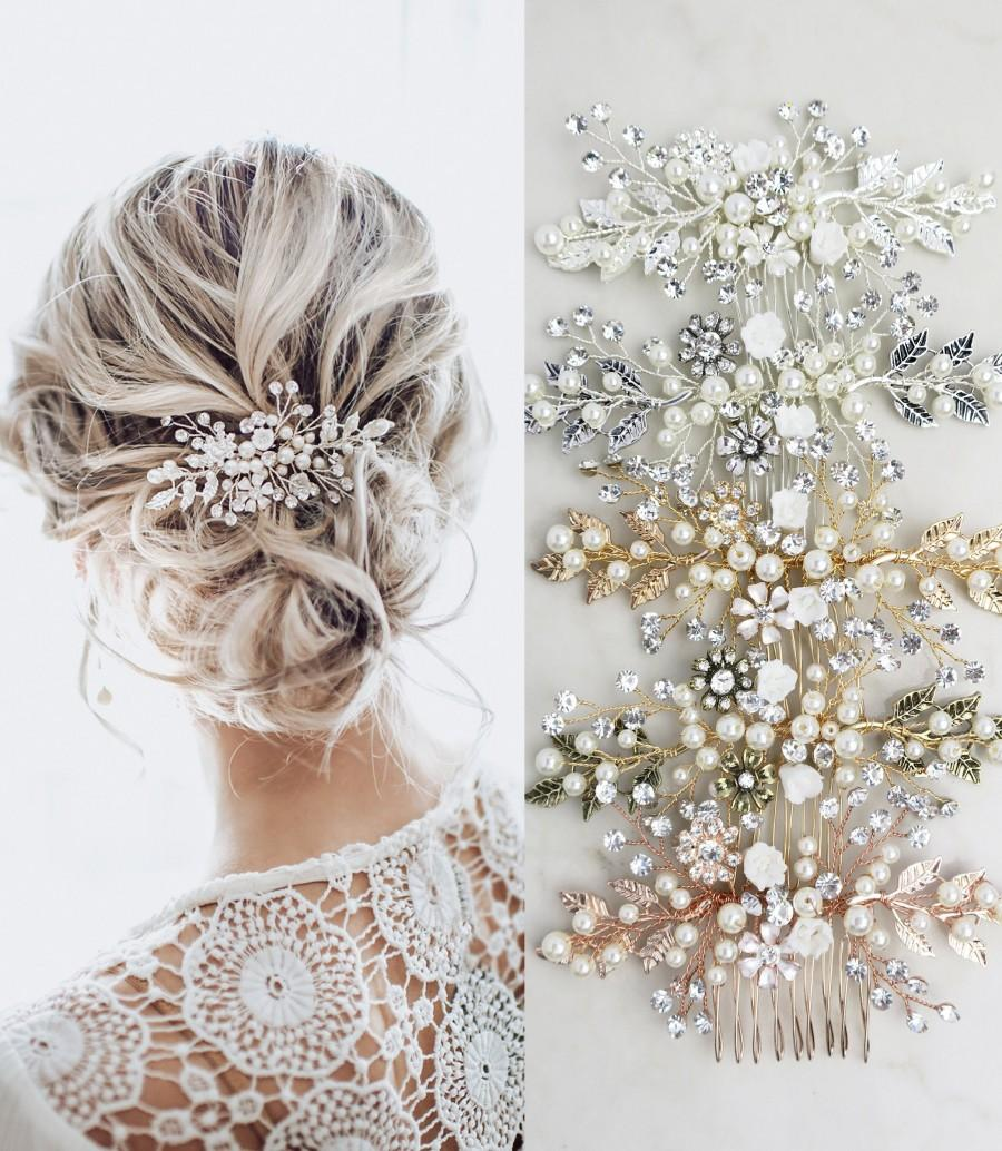 Wedding - LOWEST PRICE EVER! Wedding Hair Accessory Boho Bridal Hair Comb crystal pearl with leaves and flowers - 'Zara'