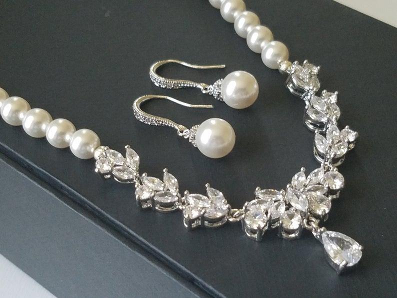 Wedding - Pearl Bridal Jewelry Set, Swarovski White Pearl Earrings&Necklace Set, Pearl Cubic Zirconia Jewelry Set, Wedding Jewelry, Statement Necklace