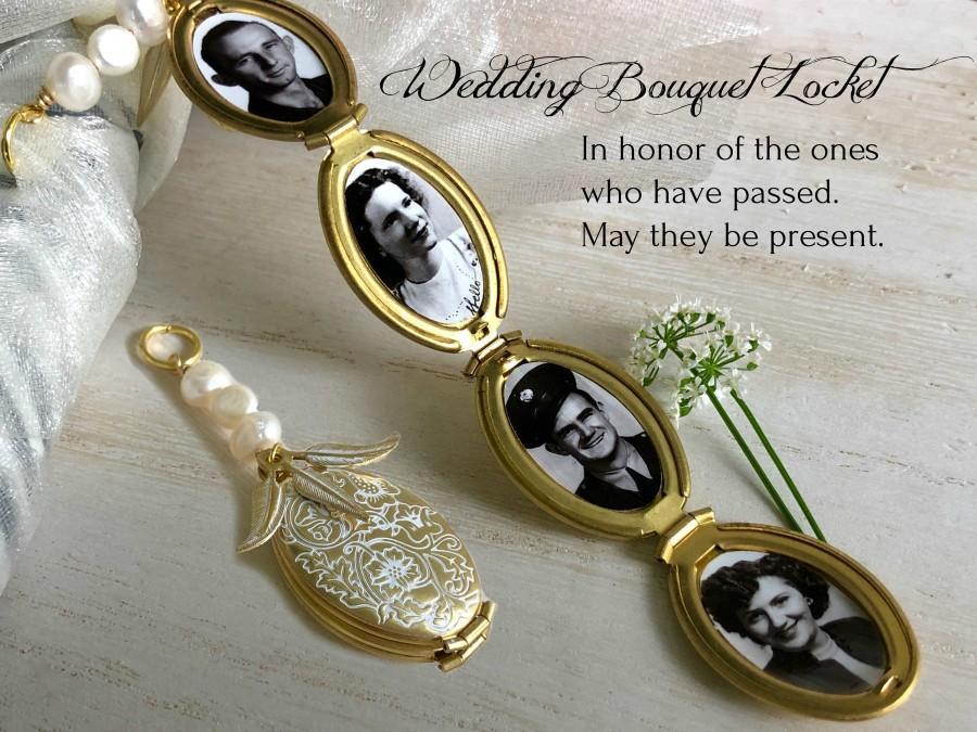 Wedding - Four Photo Wedding Bouquet Locket, Bridal locket with Photos of Loved ones