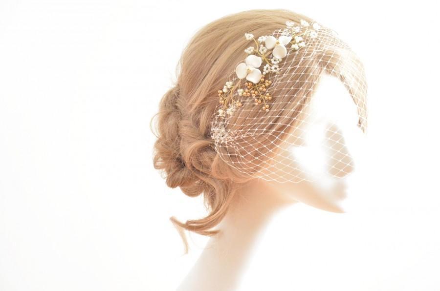 Wedding - Ivory mini veil headband, Headband veil,  Bridal hair piece with veil,  White birdcage veil hair piece, Bridal headband, Hair accessories