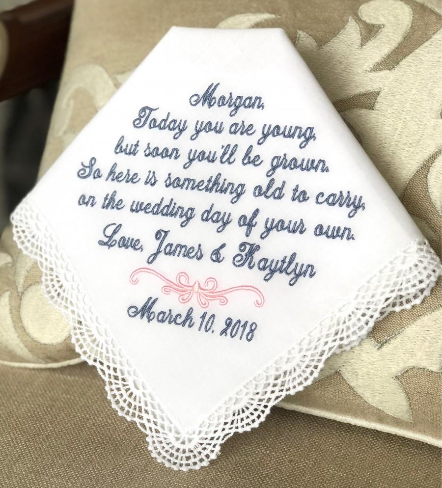 Wedding - Flower Girl Wedding Gift Handkerchief - Today YOU ARE YOUNG - Something to Carry on your Wedding Day  - Junior Bridesmaid Hankie -Weddings