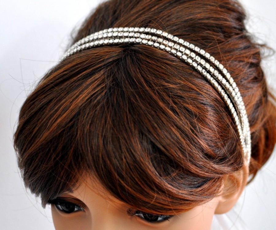 Wedding - Triple Rhinestone Ribbon Headband, Wedding Headpiece, Rhinestone, Crystal, Accessories, Bridal, Wedding, sparkle