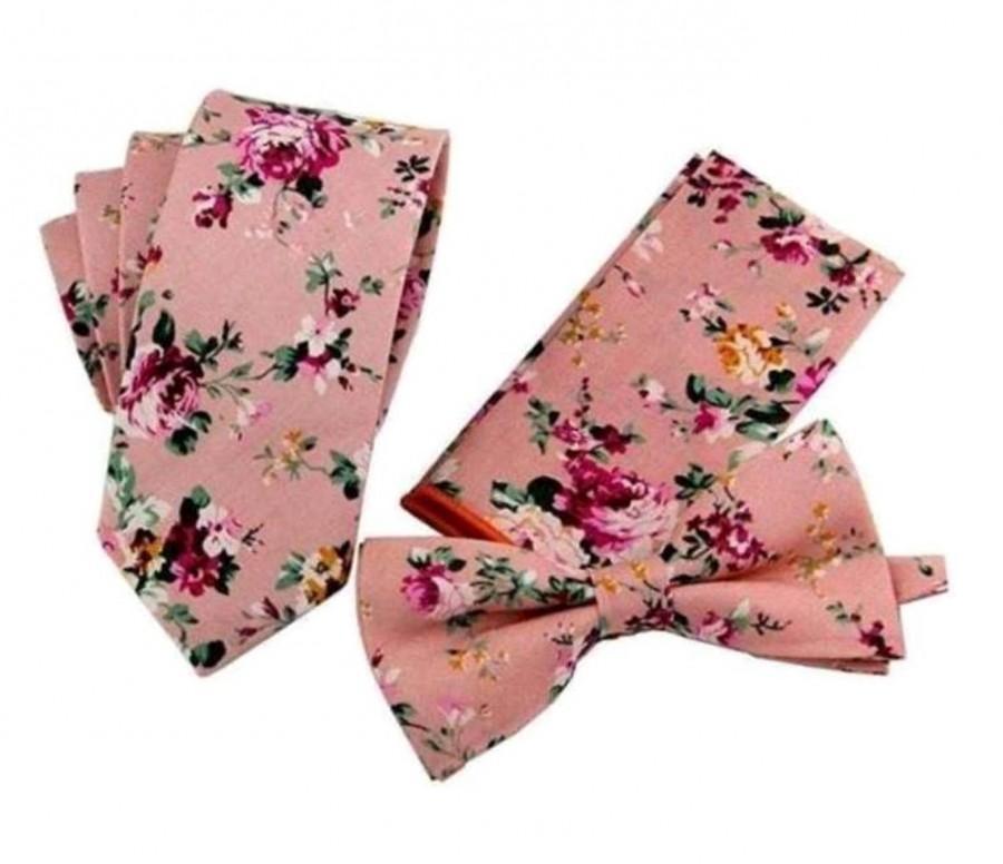 Mariage - Pink Floral Tie or Pretied Bow Tie or Pocket Square Bowtie Necktie Bow Tie Groomsmen Wedding Ties Groomsman Best Man Groom 2.5 Inch 3.5