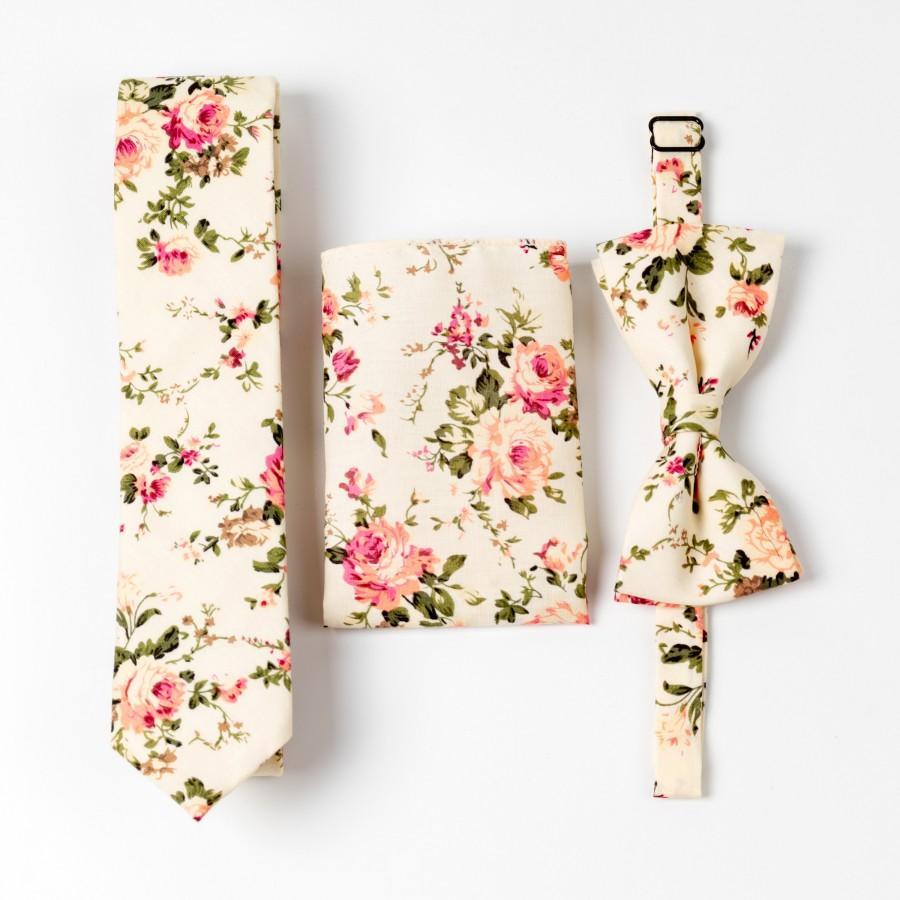 زفاف - Cream Floral Skinny Ties Sets, Mens Ties Skinny, Mens Floral Ties Pattern, Mens Pocket Square, Skinny Necktie, Mens Floral Bow Ties