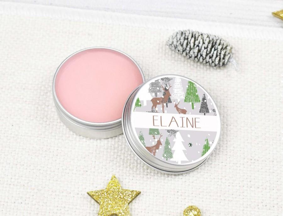 Hochzeit - Personalised Christmas Lip Balm Favours, Scandinavian Christmas Lip Balm Table Decoration, Tree DIY Personalised Holiday Table Lip Balms,