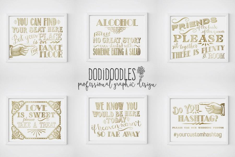 Свадьба - Wedding Signs, gold wedding signs, Dance Floor Sign, Hashtag Sign, Treat Sign, Alcohol Sign, Seating Sign