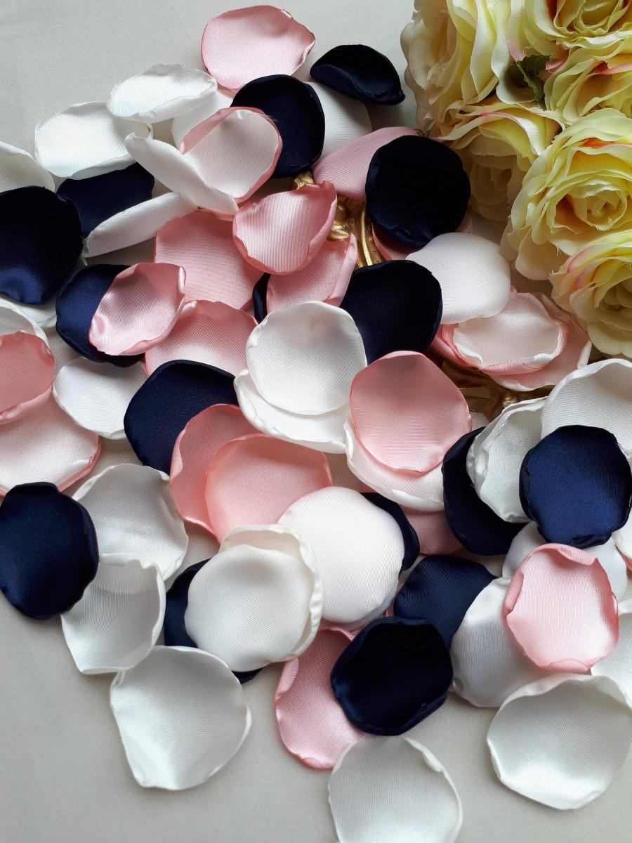 Свадьба - Navy Blue Rose Petals, Blush Pink Petals, White Rose Petals Wedding Decorations Flower Girl Petals Table Decor Aisle Decor Bridal Shower