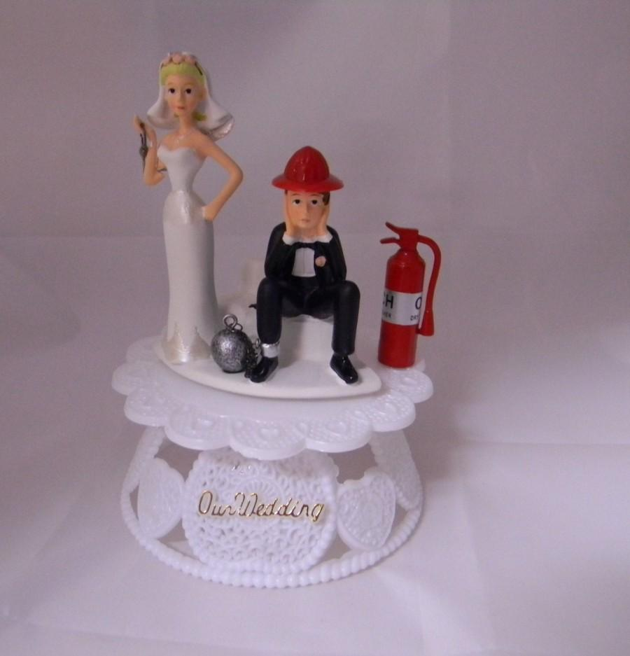 Mariage - Our Wedding Sign Reception Ceremony Party Ball & Chain Fireman Firefighter Cake Topper