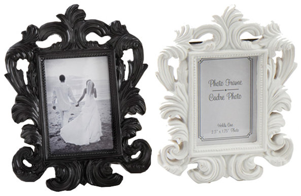 زفاف - Black White Mini Baroque Photo Frame Place Card Holder - Cadre Rococo Picture Buffet Label Table Number Wedding Luxury Regal Decorative