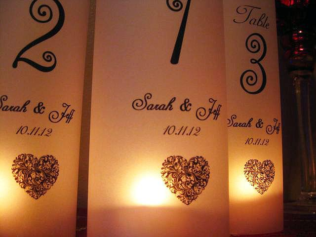 Свадьба - Wedding Luminaries, Wedding Table Number Luminary Personalized Heart, Set of 12..