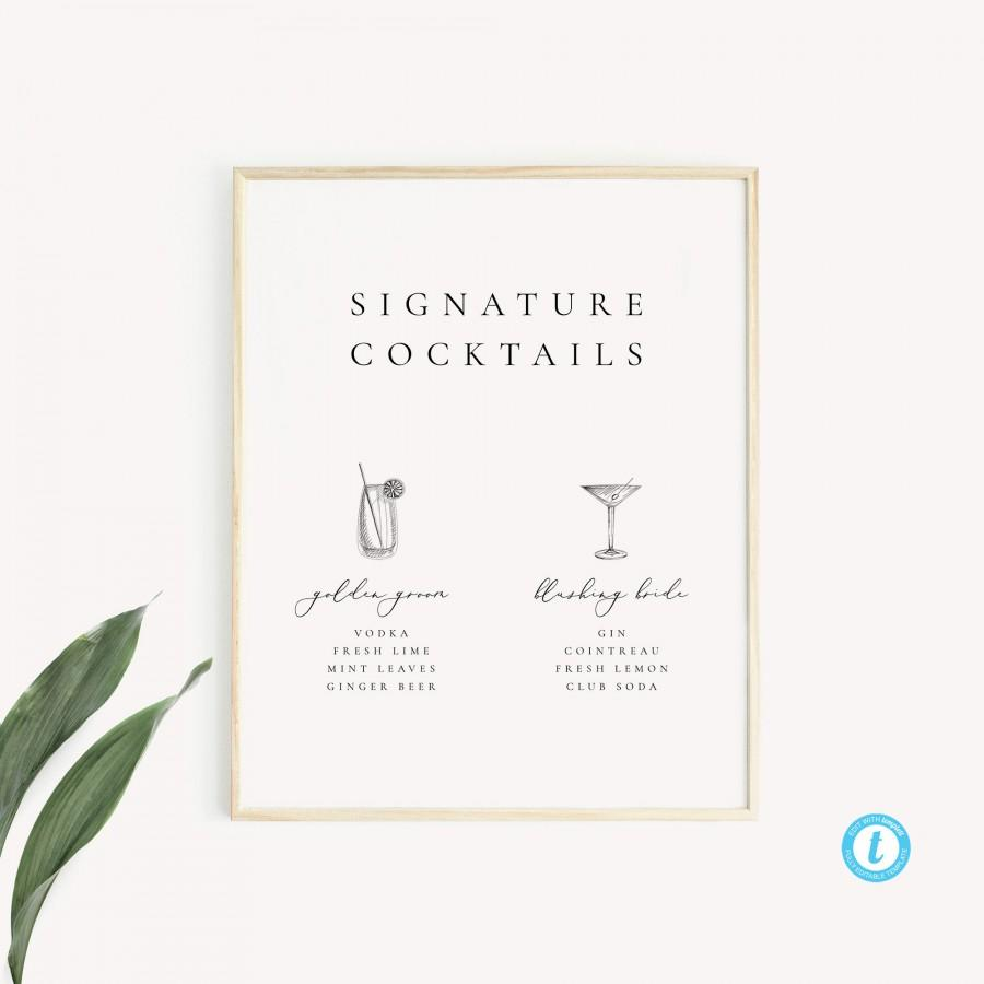 Wedding - Signature Cocktails Sign Template Download Modern Wedding Bar Sign Simple Sign Signature Drink Printable Sign Templett 10