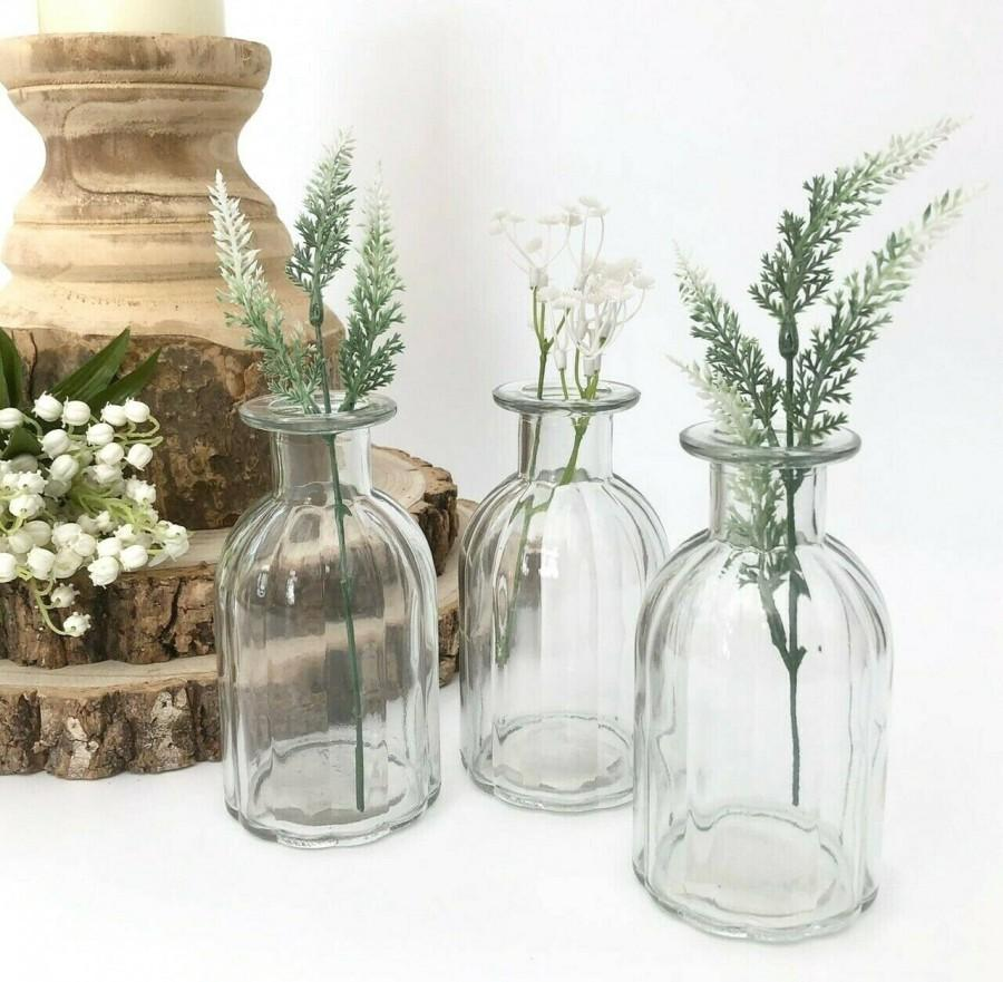 Wedding - Set of 3 Vintage Style Clear Ribbed Glass Bottles Small Bud Vase Wedding Table Centrepiece Venue Decoration Mother's Day Newly Weds Gift