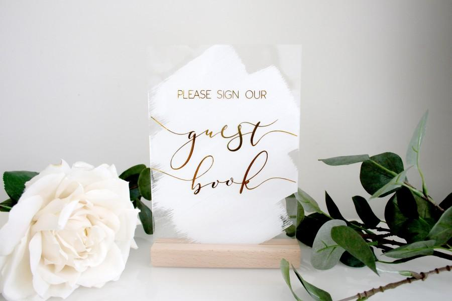 Wedding - A5 Please Sign Our Guestbook Acrylic Sign / Painted back acrylic wedding sign/ Perspex sign