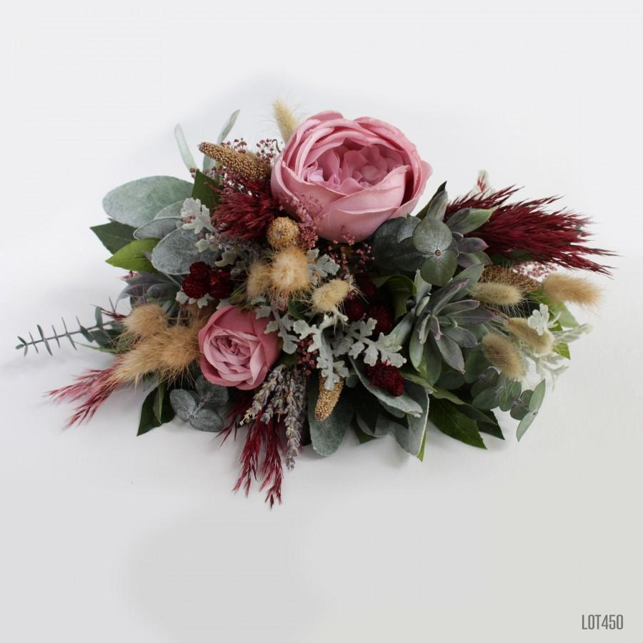 Hochzeit - Gothic Bohemian Bridal Bouquet, Rustic Wildflower Boho Dried Wedding Flowers, Burgundy and Pink with Succulents and Grass