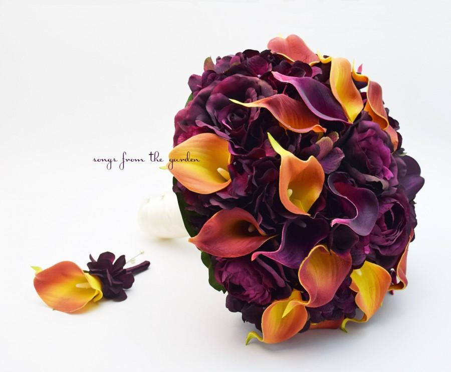 Hochzeit - Plum Roses Burnt Orange Calla Lilies Bridal or Bridesmaid Bouquet - add a Groom's or Groomsman Boutonniere - Choose Your Ribbon Color