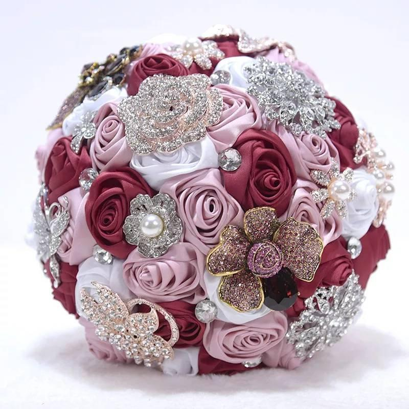 Wedding - Pink & Crystal Wedding Bouquet-Bridal Bouquet-White Bridal Flowers-Crystal Brooch Bouquet-Bridesmaid Bouquet- Silk Wedding Flowers Bridal